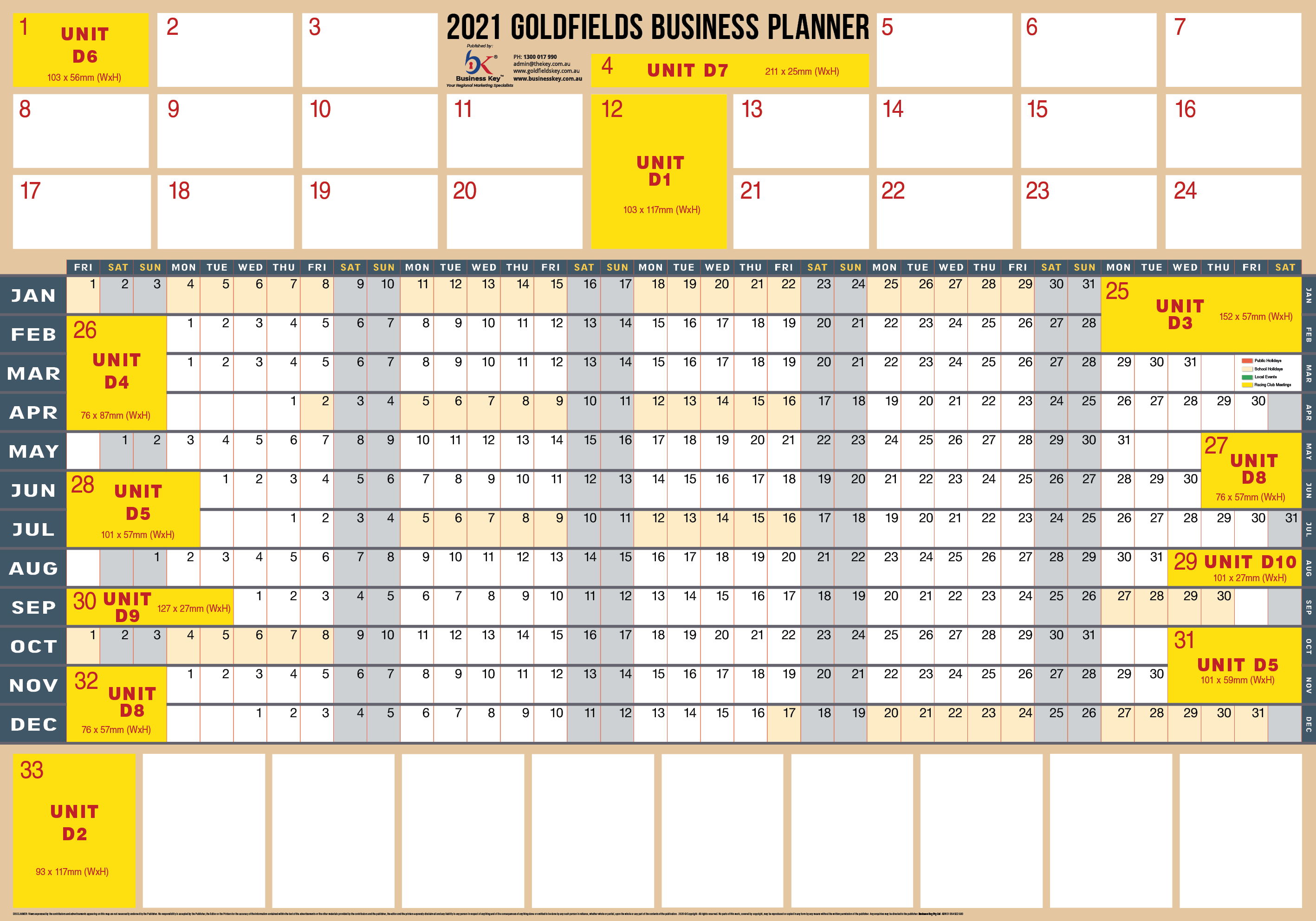 2021 Goldfields Business Planner blank